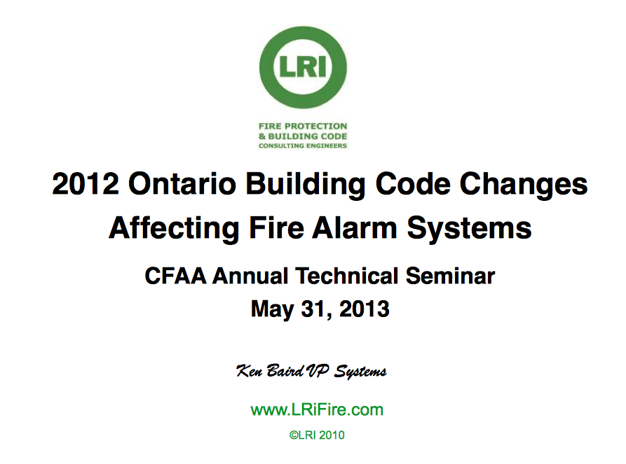 2012 Ontario Building Code Changes Affecting Fire Alarm Systems